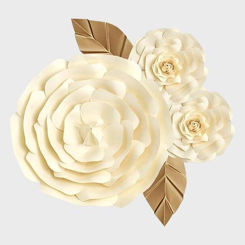 Handmade 3pc Paper Flower Set (Cream)