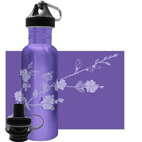 Stainless steel water bottle Purple Blossom