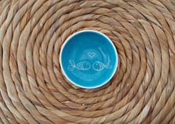 Coupelle couple poisson bleu