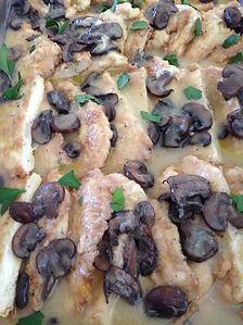 Chicken Franchise in White Wine Lemon Butter Sauce with Mushrooms