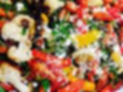 Roasted Seasonal Vegetables folded with Baby Arugula, Balsamic Vinaigrette & Feta