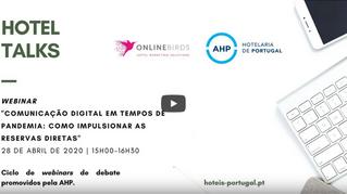 """Webinar """"Comunicação Digital em tempos de pandemia: como impulsionar as reservas directas"""""""