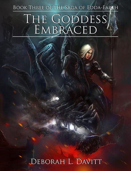 Cover of The Goddess Embraced; woman in armor, alongside a dragon