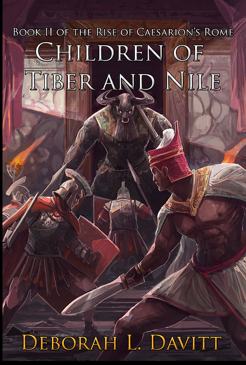 Cover of Children of Tiber and Nile; Roman soldiers and Egyptian pharoah fighting a minotaur