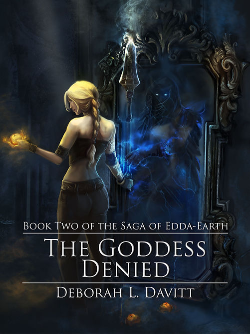 Cover of The Goddess Denied; woman holding apple and spear, in front of a mirror in which a shadowy figure reaches for her