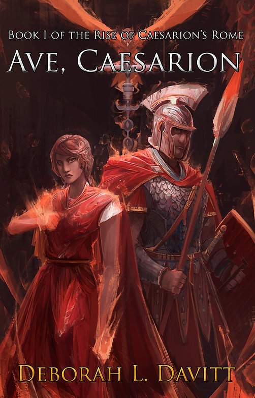 Cover of Ave, Caesarion; man in Roman armor with spear and shield, woman in stola with fire in her hands