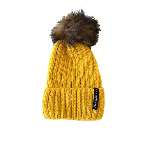 AJ Activewear PomPom Hat Yellow
