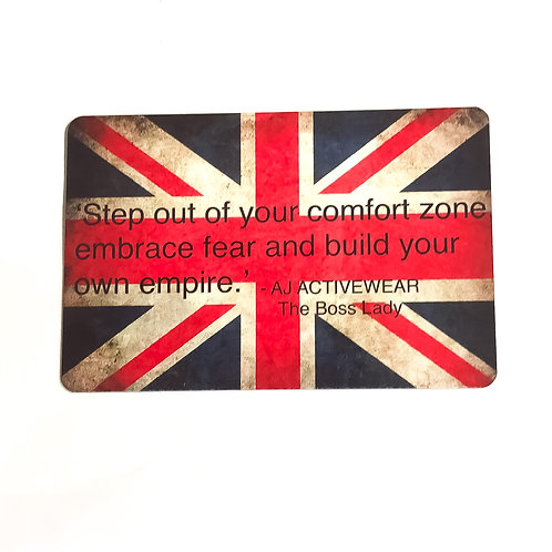 AJ Activewear Embrace Fear Quote Union Jack Plaque