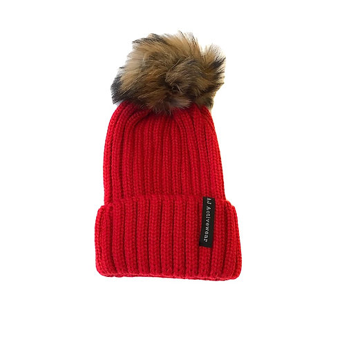 AJ Activewear PomPom Hat Red