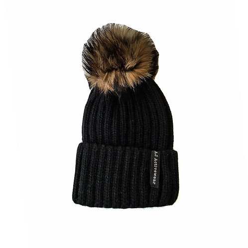 AJ Activewear PomPom Hat Black