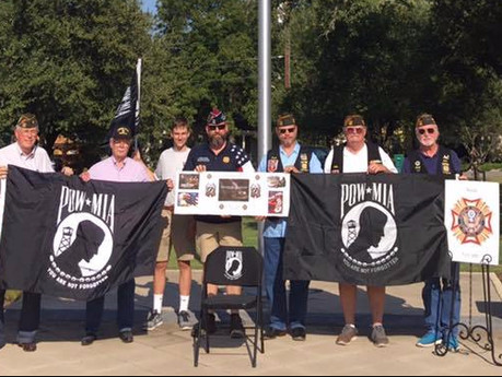 September 15, 2017 VFW Post 688 Honored POW/MIA with a Ceremony at Boerne Veterans Plaza