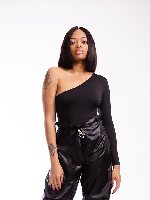 The Onesie Black Cold Shoulder Body Suit