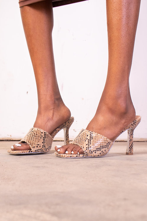 Snake Print Textured Square Fronts Slip on Heels