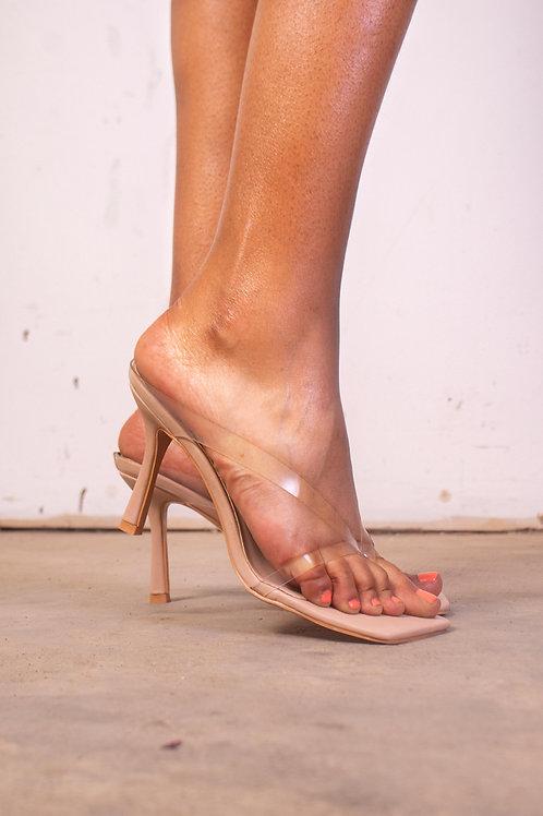 Clear Square Front Flip Flop Heels