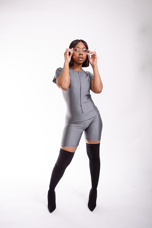 The Zip Up Body Suit Charcoal