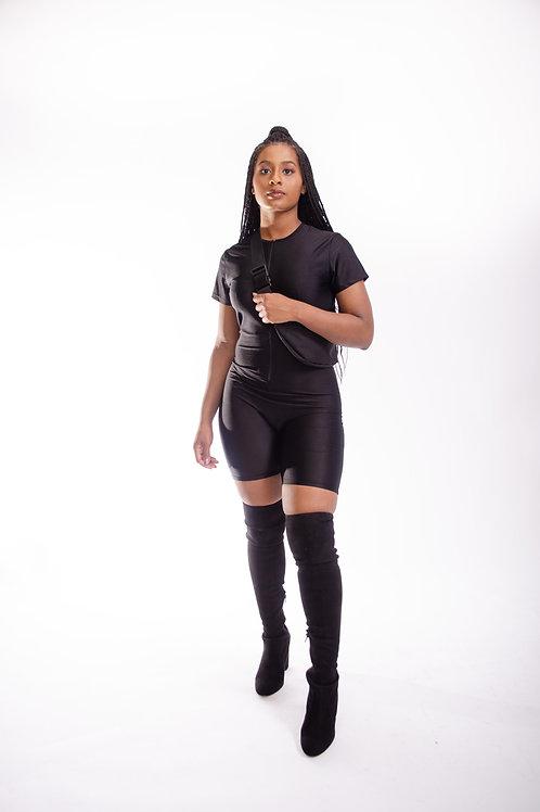 The Zip Up Body Suit Black
