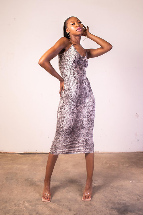 Snake Printed Deep V Multi Strap Maxi Dress