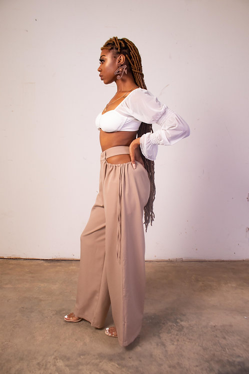 Cut Out High Waist Wide Leg Trousers