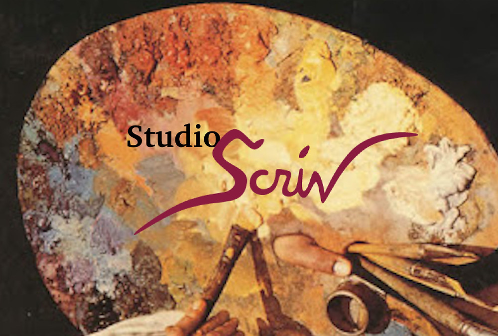 This image is sign outside my art studio, entitled StudioScriv where I paint portraits, still life and figurative art
