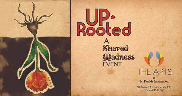 Banner ad for the UpRooted show with an inverted tulip.