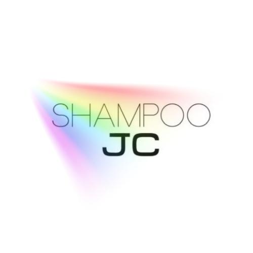 """Shampoo JC"" over a rainbow of light"