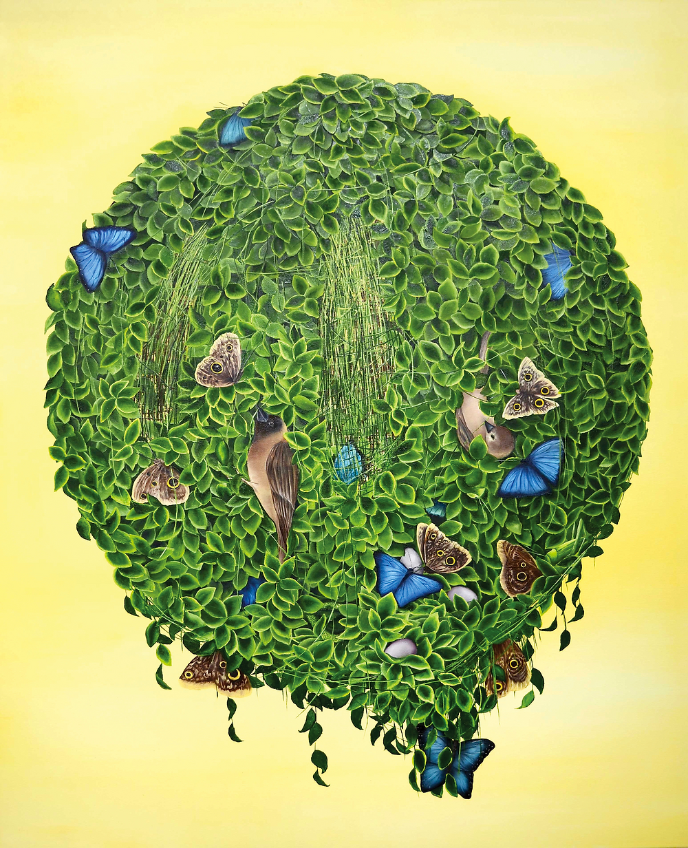 Sphere of greenery in the center surrounded by yellow background. Painting by Allison Green.