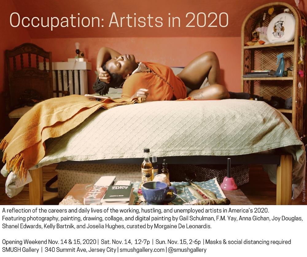 "A black queer non-binary femme is lying on their bed wearing a burnt orange shirt and their locs tied up in a bun. Their left hand is laying on their head and they are looking up with eyes closed. Their room is salmon pink on the walls with light decor. There is a budding altar at the foot of their bed.  The top left corner reads ""Occupation: Artists in 2020."""