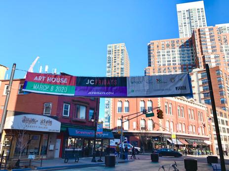 JC Fridays Banner on Grove St.