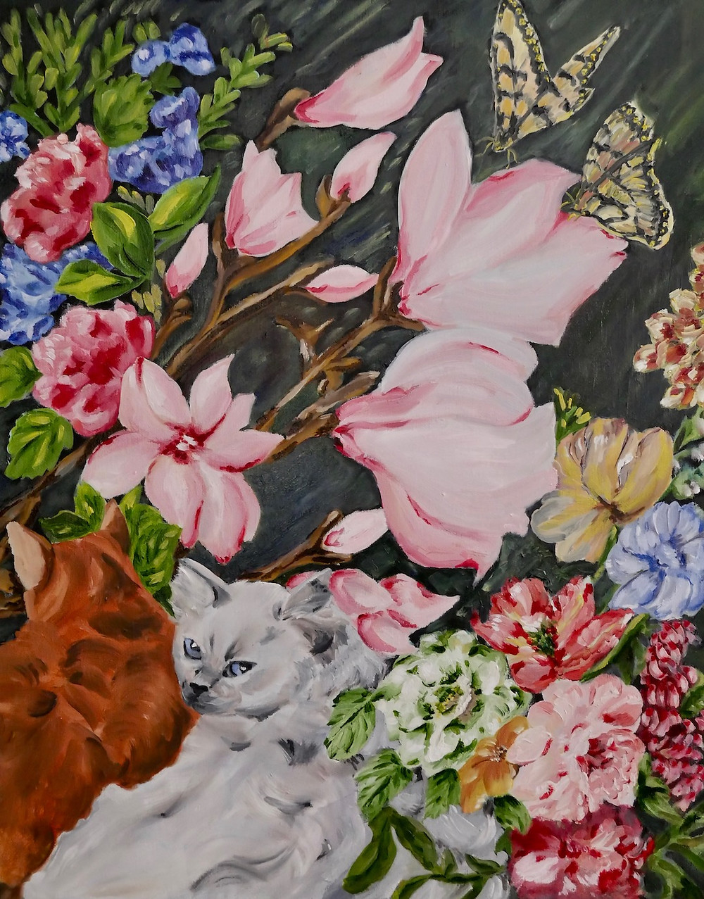Painting of two cats with greenery and florals.