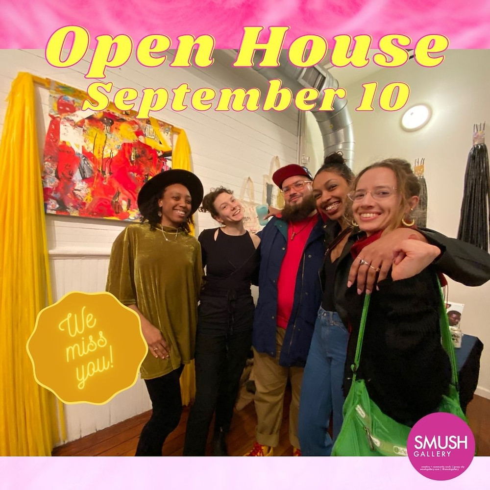 """Photograph of smiling art viewers posing for a group photo in front of artwork by Myssi Robinson. Text reads """"Open House, September 10,"""" """"We Miss You,"""" and has the SMUSH logo."""