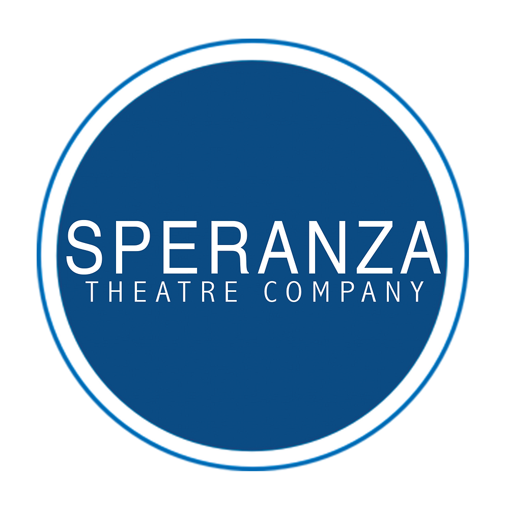 Speranza Theatre Company logo: Plain white text in medium blue circle