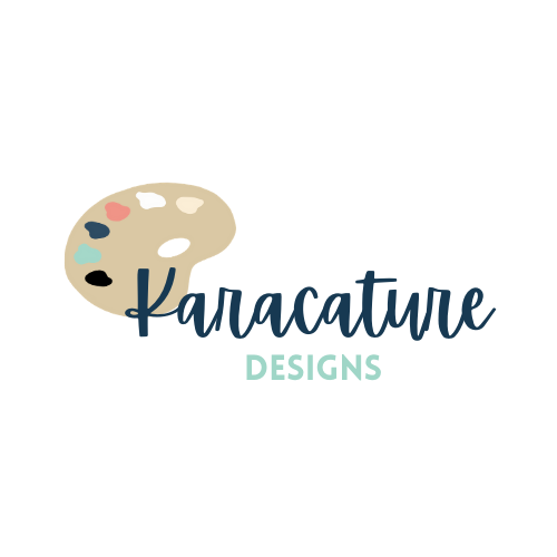 Logo for Karacature Designs. Dark blue text reading 'Karacature Designs' accompanied by an illustrated artist's palette.