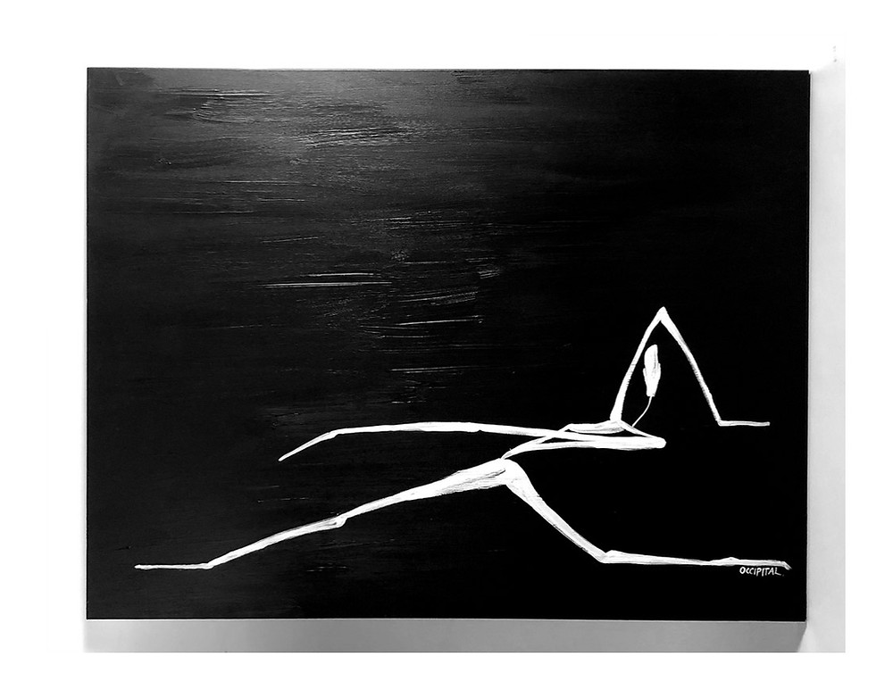 Painting is black background with a painted white figure