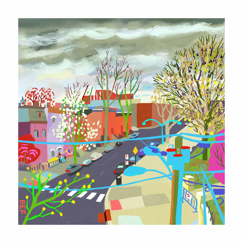 A colorful painting of a view overlooking Hamilton Park on a spring morning.