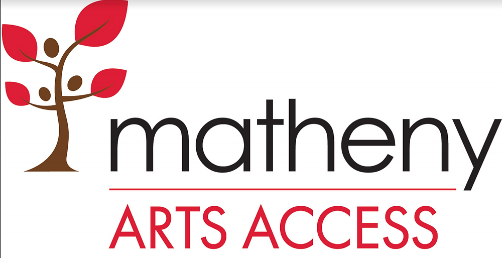 "A Brown tree with Red Leaves sits to the left of text that Reads ""Matheny Arts Access"