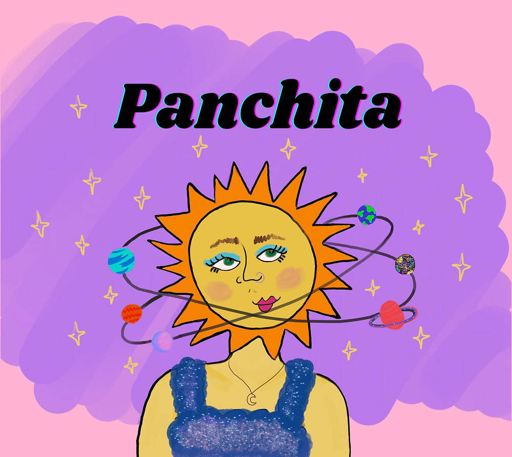 A smiling sun with planets circling her head underneath the logo Panchita.