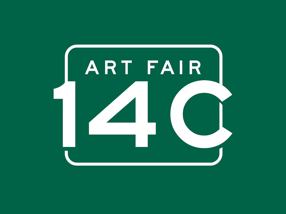Art Fair 14C Logo - White text on Forest Green background