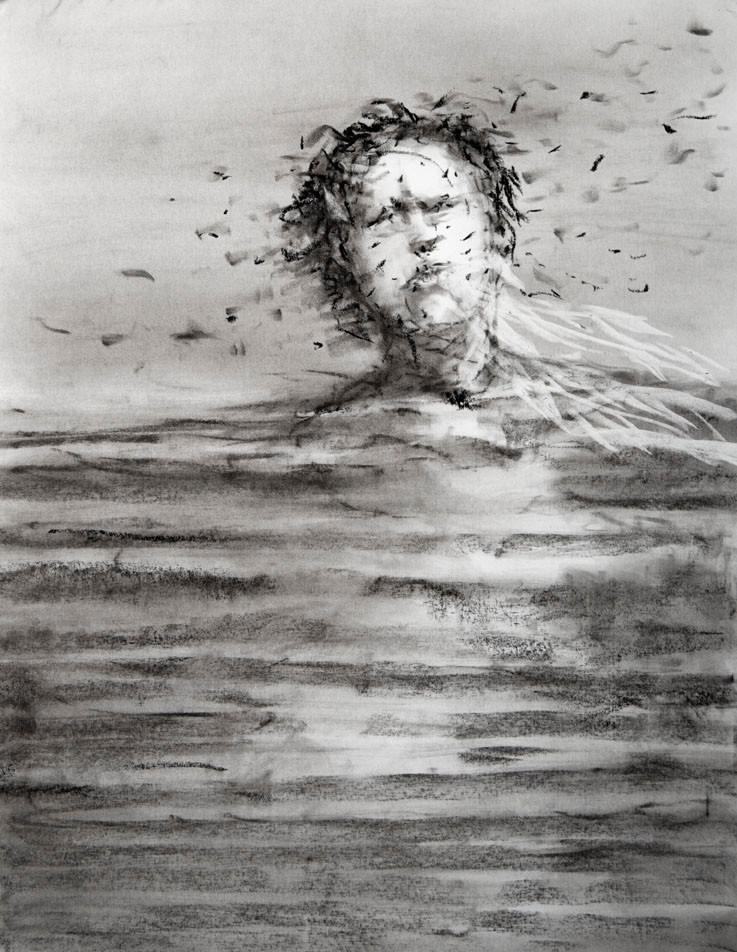 Charcoal drawing of A woman in water up to her neck with little pieces of black debris floating around her head.