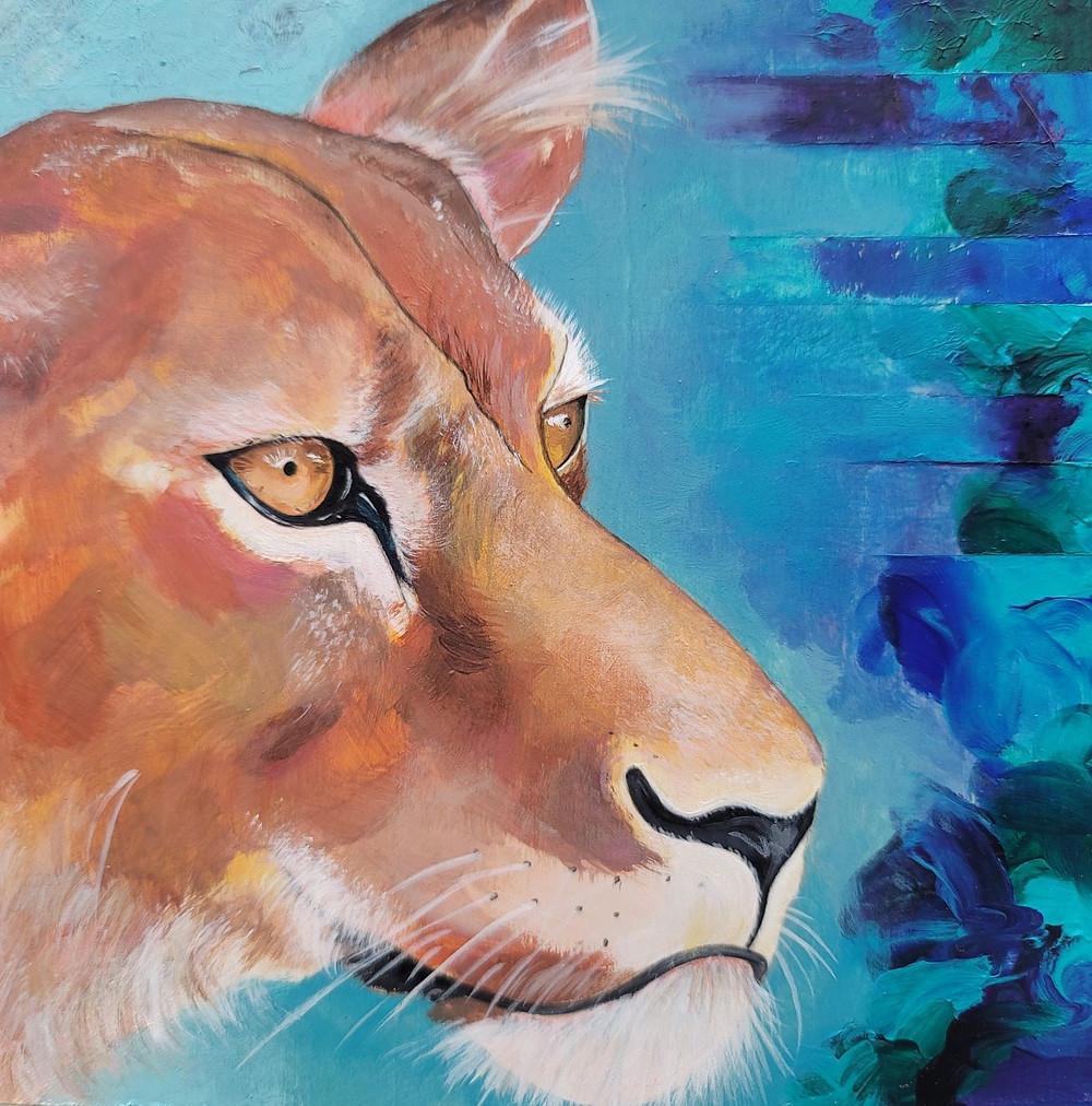"Luna - 6""x6"" - acrylic on canvas"