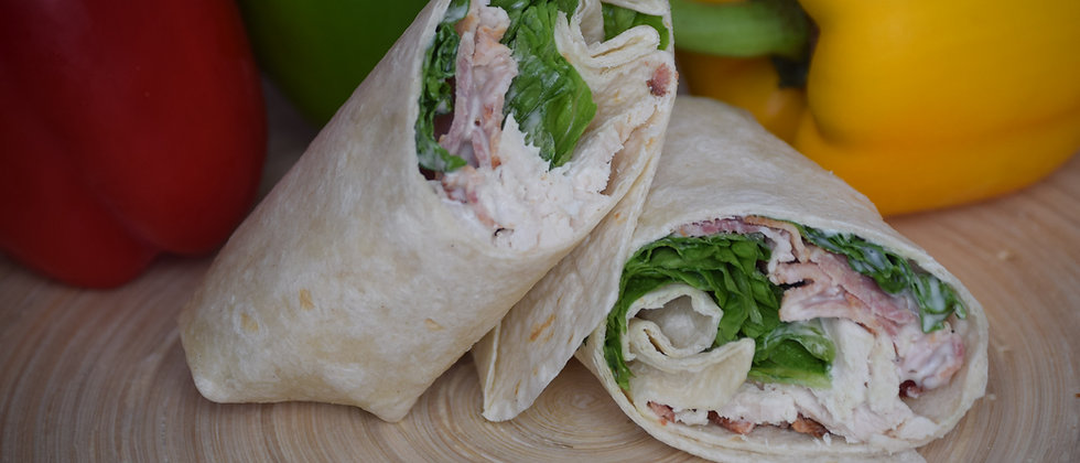 Chicken, Smoked Bacon Lettuce and Mayo in a Tortilla Wrap