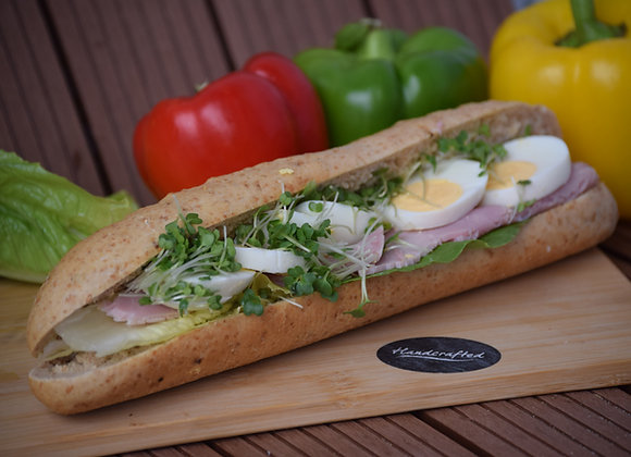 Sliced Egg Mayo, Cress & Gammon  Ham With Lettuce Malted wheat  Baguette