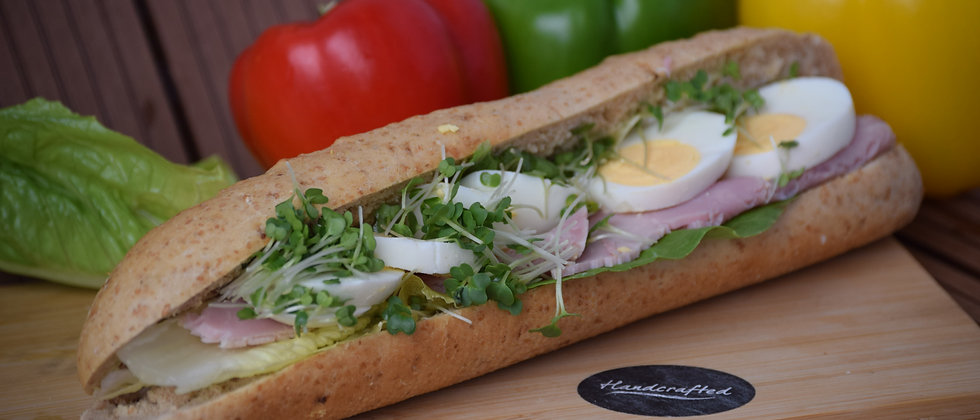 Sliced Egg Mayo, Cress, Gammon  Ham With Lettuce Malted wheat  Baguette (s&c)