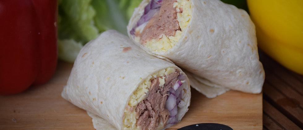 Tuna, Cheese & Onion Melt in a Tortilla Wrap served hot (s&c)