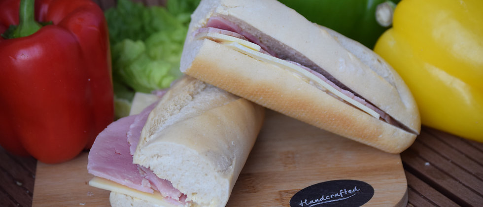 Gammon Ham and Sliced Emmental Cheese White Baguette