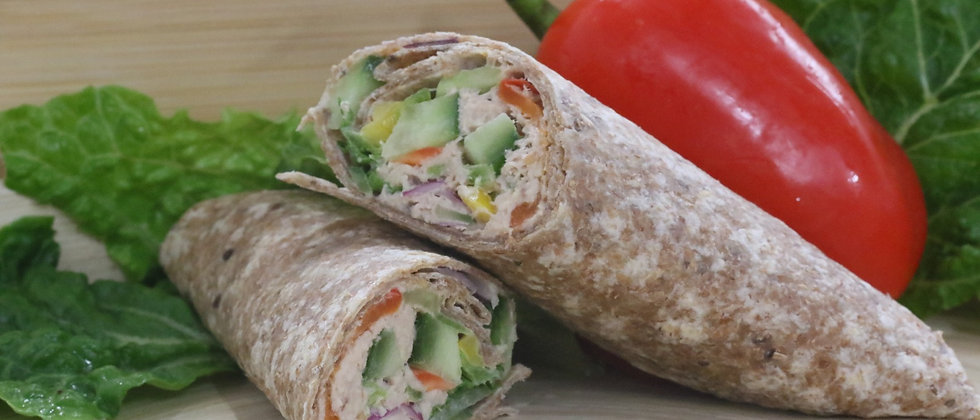 Tuna Crunch and Lettuce in a Brown Tortilla Wrap