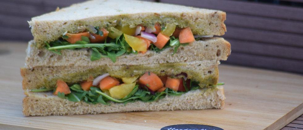 Vegan Rocket, Basil Pesto, Pepper, Carrot and Onion