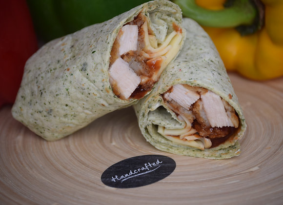 Southern Fried Chicken, Cheese and BBQ in a Spinach Wrap