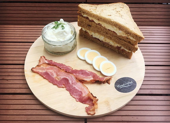Double Egg and Smoked Bacon on Malted Wheat