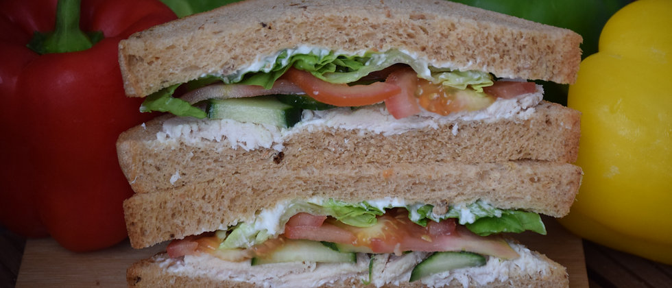 Roast Chicken Salad with Mayo On Malted Wheat