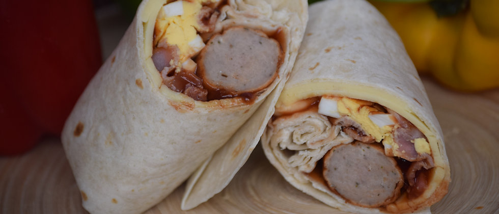 All Day Breakfast with Brown Sauce in a Tortilla Wrap served Hot (s&c)